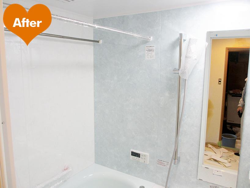 バスルーム、洗面台、給湯器交換で水周り刷新 -川崎市幸区