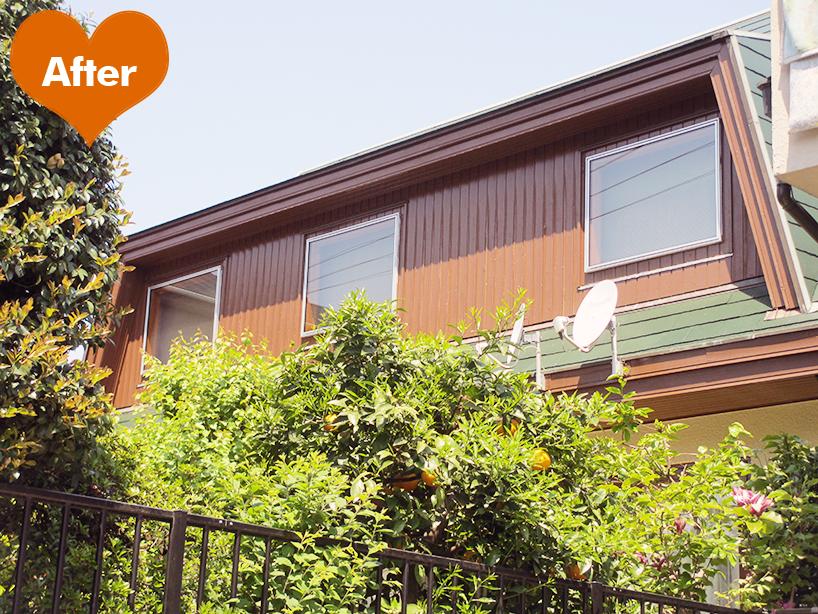 窓枠・ウッドデッキの修繕と屋根・外壁塗装 木の外壁も補修と塗装で蘇る -東京都大田区